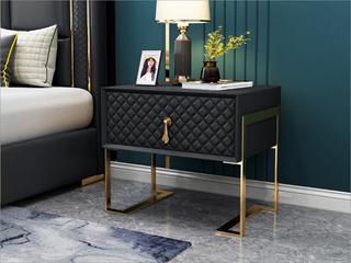 实木抽屉 不锈钢拉丝封釉镀钛金 黑色 床头柜