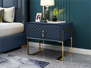 实木抽屉 不锈钢拉丝封釉镀钛金 深蓝灰 床头柜