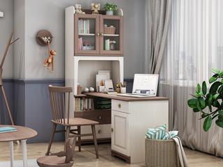 简美风格 主材北美白蜡木 新西兰松木 双拼色 双门F型书柜(不含书桌台)