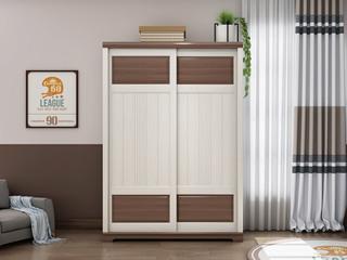 柏莎贝尔 简美风格 主材北美白蜡木 新西兰松木 深咖色 象牙白 双拼色 衣柜
