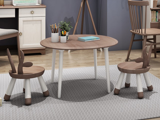 柏莎贝尔 简美风格 主材北美白蜡木 新西兰松木 深咖色 象牙白 小圆凳子+桌子