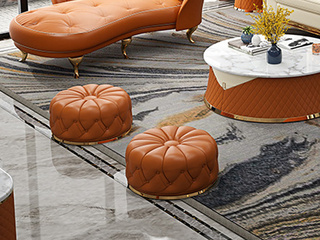 卡伦斯特 轻奢风格 优质仿真皮 进口实木 不锈钢拉丝封釉镀钛金 南瓜凳