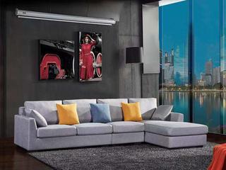 现代简约 俄罗斯进口落叶松坚固框架 优质棉麻布艺 T007 转角沙发(1+3+左贵妃)