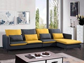 现代简约 俄罗斯进口落叶松坚固框架 优质棉麻布艺 T009 转角沙发(1+3+左贵妃)
