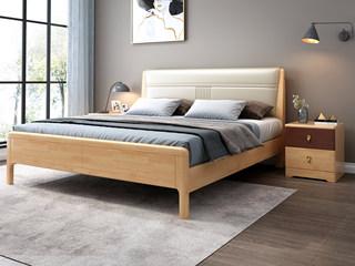 北欧风格 优质泰国进口橡胶木 仿真西皮 1.8*2.0m床