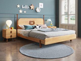 北欧风格 优质泰国进口橡胶木 水性环保油漆 1.5*2.0m实木儿童床