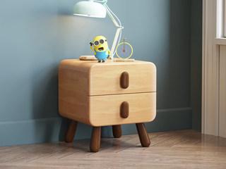 欧北之光 北欧风格 优质泰国进口橡胶木 水性环保油漆 儿童床头柜