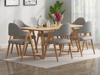 欧北之光 北欧风格 泰国进口橡胶木 原木色 1.3m拐角餐桌