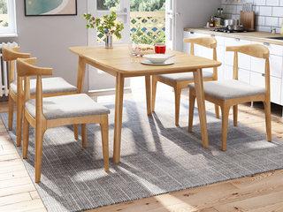 欧北之光 北欧风格 泰国进口橡胶木 原木色 1.2m伸展功能餐桌