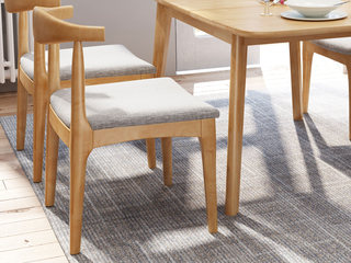 欧北之光 北欧风格 泰国进口橡胶木 原木色 牛角椅