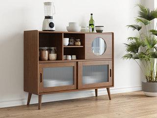 北欧风格 榉木坚固框架 胡桃色 餐边柜