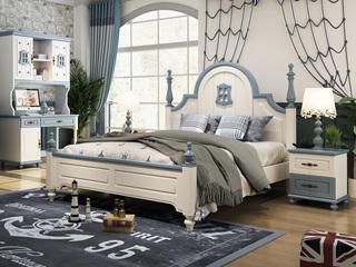 简美风格 优质橡胶木 环保健康 坚固耐用 孩子放心睡 1.5m儿童床