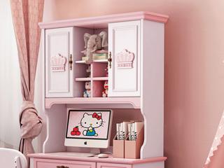 柏莎贝尔 简美风格 优质橡胶木 环保健康 青春粉白 儿童书架