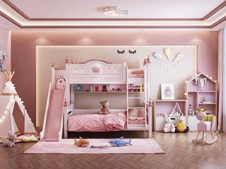 简美风格 优质橡胶木 环保漆 绿色自然 坚固耐用 青春粉白 1.5m双层儿童床(含滑梯)