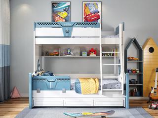 简美风格 优质橡胶木 环保漆 经久耐用 安全防护 1.5m双层儿童床(不含拖床)
