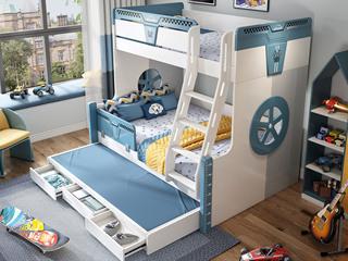 简美风格 优质橡胶木 环保漆 经久耐用 安全防护 1.5m双层儿童床(含拖床)