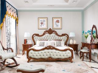博洛妮亚 法式家具系列 美式古典 头条牛皮+进品桃花芯 极致享受1.8米床
