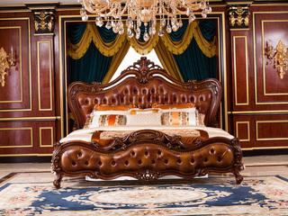 博洛妮亚 进口桃花芯木 美式古典典雅贵重进口牛皮床软靠1.8米大床