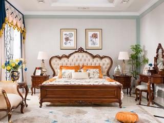 博洛妮亚 法式家具系列 美式古典风格 进口桃花芯+头层牛皮制作 帝王感爱 1.8米床