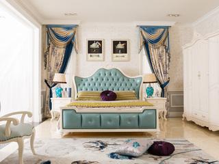 博洛妮亚 进口桃花芯木 法式浅色白色1.8米大床卧房