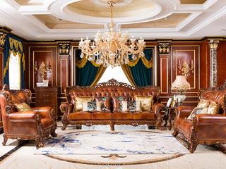 博洛妮亚 进口桃花芯木美式古典真皮沙发组合客厅实木雕花家具真皮沙发组合(1+2+3)