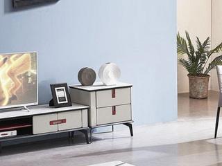 现代风格 白色岩板面 实木双抽 碳素钢脚 斗柜