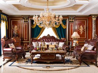博洛妮亚 进口桃花芯木 美式古典华丽棕颜色1+2+3沙发组合