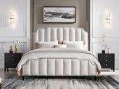 芝华仕 【现货秒发】现代简约 夸克耐磨亲肤棉麻面料 巴西进口实木床框 优雅米色1.8*2.0m床