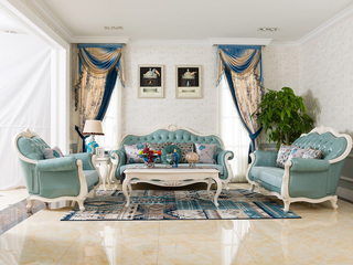 博洛妮亚 进口桃花芯木 法式客厅牛皮沙发1+2+3沙发组合