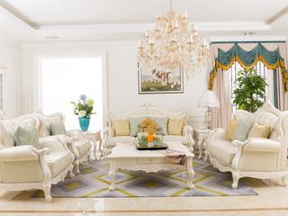 博洛妮亚 进口桃花心木法式牛皮沙发仿古白色沙发1+2+3组合