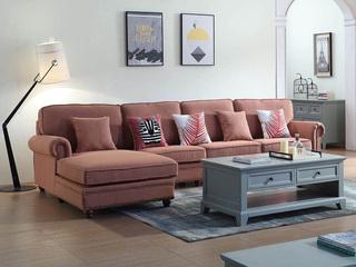 纾康 简美风格 优质麻布面料 百搭转角沙发(1+3+右贵妃)