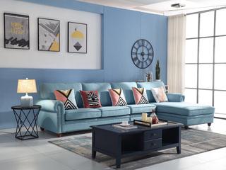 纾康 简美风格 优质麻布面料 百搭转角沙发(1+3+左贵妃)