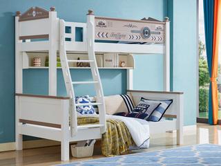 简美风格 泰国进口橡胶木 白色+3D 1.5m 上下床(含书架)