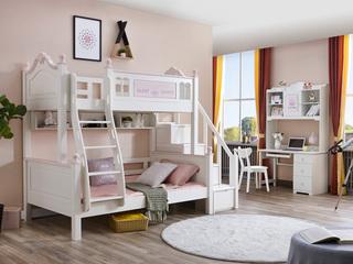 宸轩 简美风格 泰国进口橡胶木 浅粉+白色 1.5m 上下床(不含步梯柜)