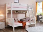宸轩 简美风格 泰国进口橡胶木 浅粉+白色 1.5m上下床(含书架)