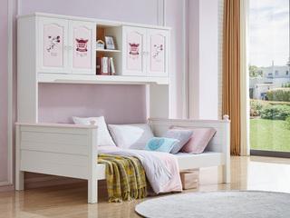 宸轩 简美风格 泰国进口橡胶木 浅粉+白色 1.5m 衣柜床