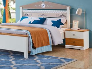 宸轩 简美风格 泰国进口橡胶木 蜜桃金色+白色 床头柜