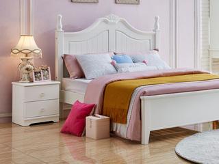 宸轩 简美风格 泰国进口橡胶木 白色床头柜