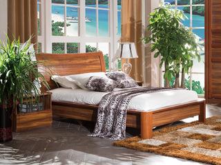 宸轩 中式风格 泰国进口橡胶木 柚木色  1.2*2.0米床