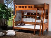 宸轩 中式风格 泰国进口橡胶木 柚木色  1.2米双层床