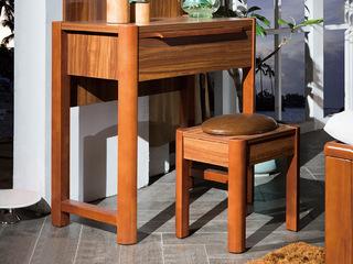 宸轩 中式风格 泰国进口橡胶木 柚木色  妆凳
