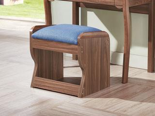 宸轩 中式风格 棉麻布 泰国进口橡胶木 胡桃色 9003 妆凳