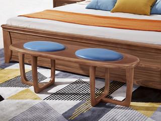 宸轩 中式风格 仿皮 泰国进口橡胶木 胡桃色 9001 长条凳