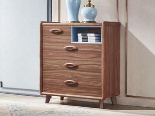 中式风格 泰国进口橡胶木 胡桃色 9009 四斗柜