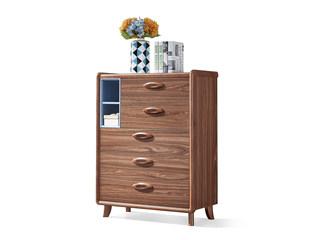 中式风格 泰国进口橡胶木 胡桃色 9009 五斗柜