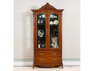 博洛妮亚 进口桃花芯木 美式古典华丽棕颜色 双门酒柜储物柜