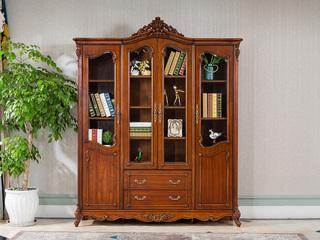 博洛妮亚 进口桃花芯木 美式古典复古书房四门书柜