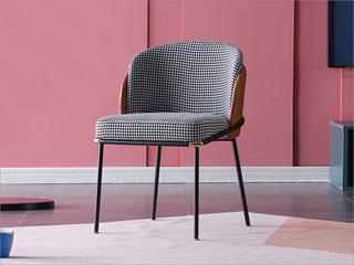 菲格 极简风格 金属铁脚  西皮 千鸟格布面料 餐椅(2把起售,不单卖)