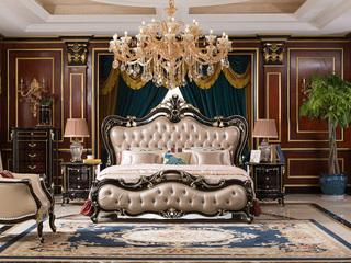进口桃花芯木新古典雅致贵重黑檀色进口牛皮床软靠1.8米大床