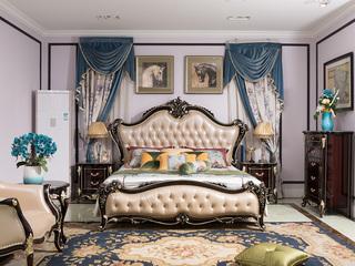 博洛妮亚 进口桃花芯木 新古典高端黑檀色1.8米大床卧房